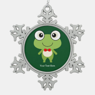 Cute Froggy Snowflake Pewter Christmas Ornament