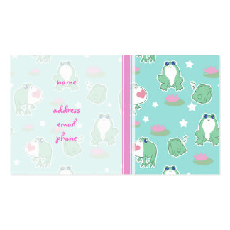 Cute Frogs and Lily Pads Pattern Business Card