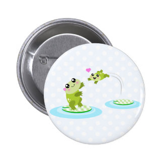 Cute frogs - kawaii mom and baby frog cartoon pin