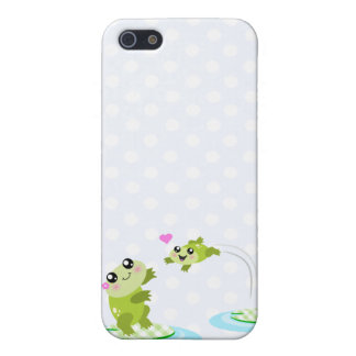 Cute frogs - kawaii mom and baby frog cartoon cover for iPhone SE/5/5s