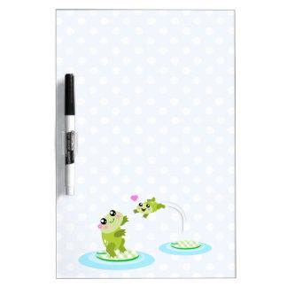 Cute frogs - kawaii mom and baby frog cartoon Dry-Erase board