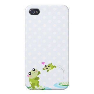 Cute frogs - kawaii mom and baby frog cartoon iPhone 4/4S case