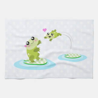 Cute frogs - kawaii mom and baby frog cartoon kitchen towel