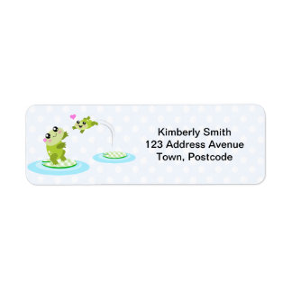 Cute frogs - kawaii mom and baby frog cartoon return address labels