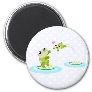 Cute frogs - kawaii mom and baby frog cartoon magnet