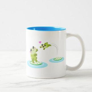 Cute frogs - kawaii mom and baby frog cartoon mugs