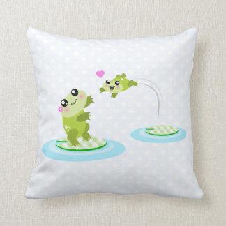 Cute frogs - kawaii mom and baby frog cartoon pillow
