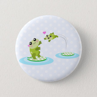 Cute frogs - kawaii mom and baby frog cartoon pinback button