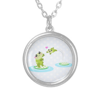 Cute frogs - kawaii mom and baby frog cartoon silver plated necklace