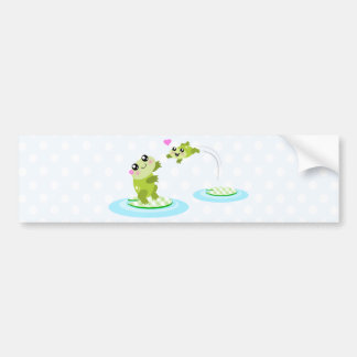 Cute frogs - kawaii mother and baby frog bumper sticker