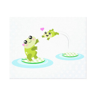 Cute frogs - kawaii mother and baby frog stretched canvas print