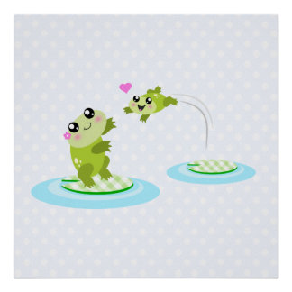 Cute frogs - kawaii mother and baby frog posters