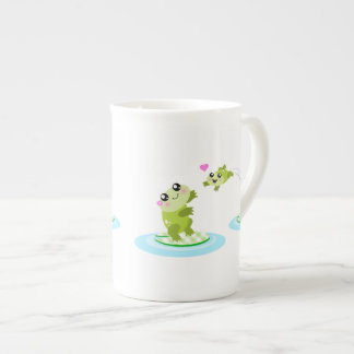 Cute frogs - kawaii mother and baby frog tea cup