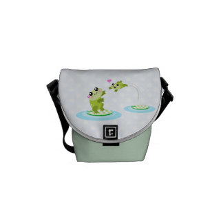 Cute frogs - kawaii mother and child frog courier bag