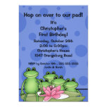 Cute Frogs on Lily Pad 1st Birthday Personalized Announcement