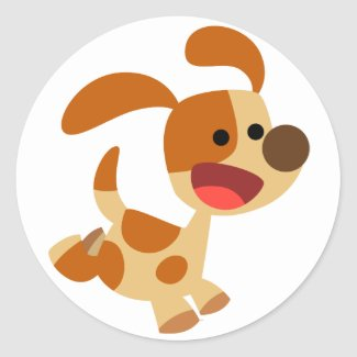 Autocollant gambadant mignon de chien de bande des sticker