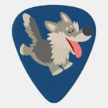 Cute Frolicsome Cartoon Wolf Guitar Pick