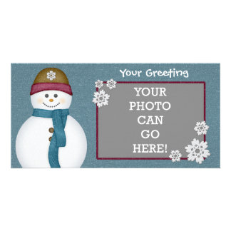 Cute Frosty Snowflakes Snowman Winter Ice Cold Photo Card