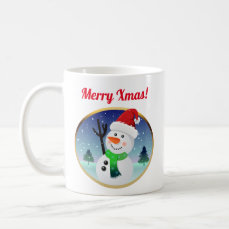 Cute Frosty Snowman Wit Christmas Hat Coffee Mug