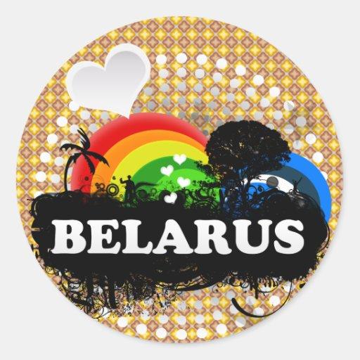 Cute Fruity Belarus Round Stickers