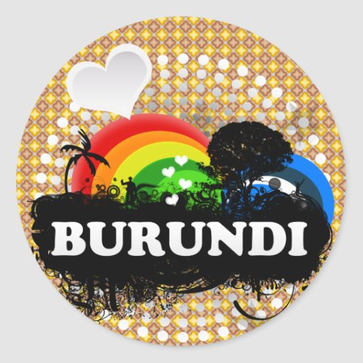 Cute Fruity Burundi Round Sticker