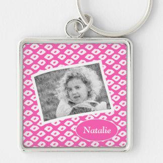 Cute Fuchsia Pink Ocelot Pattern Custom Photo Silver-Colored Square Keychain
