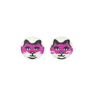 CUTE FUCHSIA & WHITE CAT EARRINGS