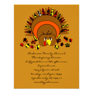 Cute Full Color Turkey Announcement