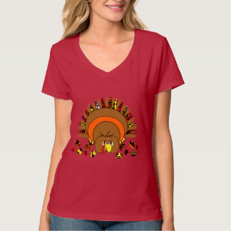 Cute Full Color Turkey T-Shirt
