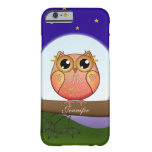Cute Full Moon Owl & custom Name Barely There iPhone 6 Case