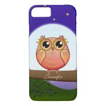 Cute Full Moon Owl & custom Name iPhone 7 Case