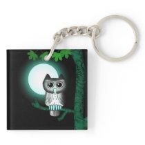 Cute Full Moon Owl Keychain