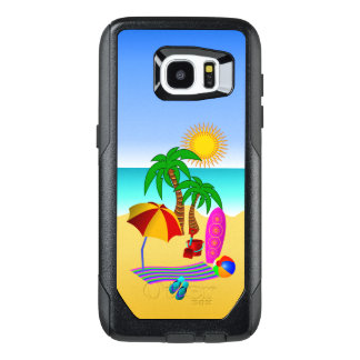 Cute Fun Beach Bum or Bunny Sun Sea and Surf Scene OtterBox Samsung Galaxy S7 Edge Case