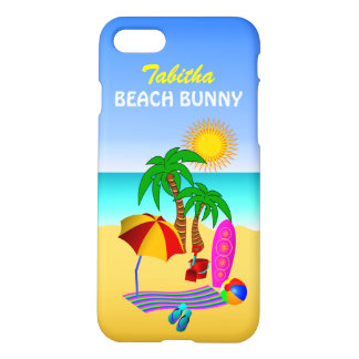 Cute Fun Beach Bunny Sun Sea Surf Scene Matte iPhone 7 Case