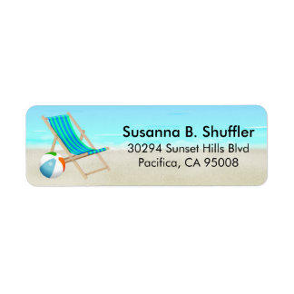 Cute Fun Beach Chair Ball Label