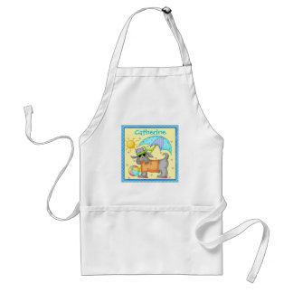 Cute Fun Beach or Pool Dog Personalized Yellowow Adult Apron
