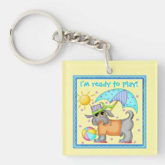 Cute Fun Beach or Pool Dog Personalized Yellowow Keychain