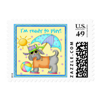 Cute Fun Beach or Pool Dog Personalized Yellowow Stamps