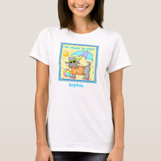 Cute Fun Beach or Pool Dog Personalized Yellowow T-Shirt