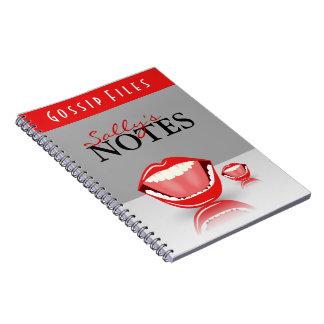Cute Fun Big Mouth Gossip Files Custom Notebook Spiral Notebook
