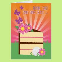 Cute & Fun Birthday Slice for Lady Golfer Card