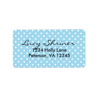 Cute, Fun Blue Polka Dot Pattern Address Label