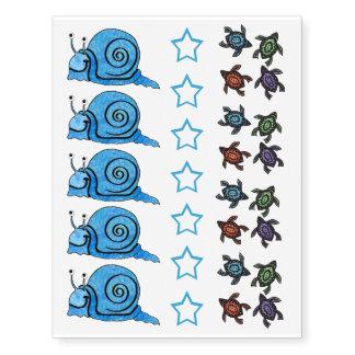 Cute Fun blue Snail Colorful Turtles Stars Temporary Tattoos