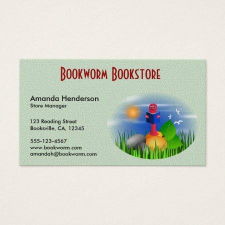 Bookworm Bookstore Business Cards