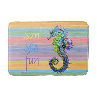 Beach Themed Cute Fun Bright Sunset Colors Artsy Seahorse Bathroom Mat