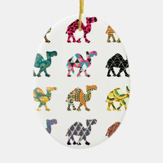 Cute fun camels ceramic ornament