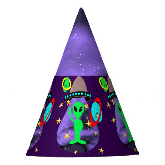 Cute Fun Cartoon Alien In Outer Space Party Hat