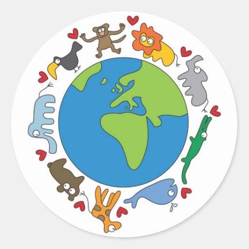 Cute Fun Cartoon Animals Of The World Earth Sticker