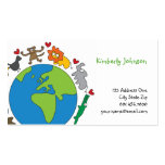 Cute Fun Cartoon Animals of The World Profile Card Double-Sided Standard Business Cards (Pack Of 100)