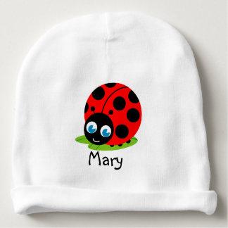 Cute fun cartoon black and red ladybug / ladybird, baby beanie